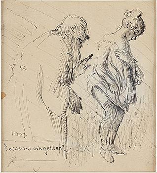 "IVAR AROSENIUS, indian ink, signed and dated IA 07. ""Susanna och gubben""."