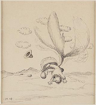 """IVAR AROSENIUS, indian ink, signed and dated -IA 08-. """"Ballongresan II""""."""