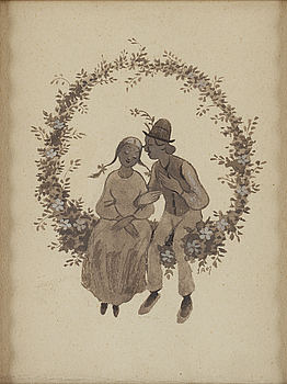 "IVAR AROSENIUS, watercolour and indian ink, signed and dated IA 07. ""Gosse och flicka sittande i blomsterkrans""."