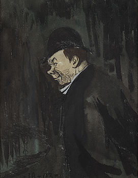 """IVAR AROSENIUS, watercolour and pencil, signed and dated -IA 03-. """"Man med hatt"""" (Präst)."""