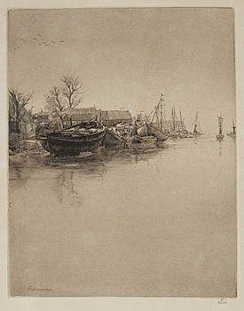 """AXEL FRIDELL, drypoint, signed Axel Fridell in pencil. Executed in 1930. """"Monnikendam I""""."""