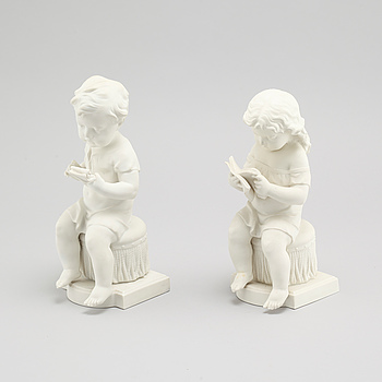 Two parian ware figurines by Gustafsberg, dated 1903 and 1913.