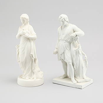 Two parian ware figurines partly bu Gustafsberg, from around year 1900.