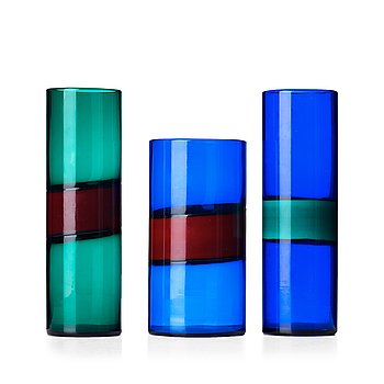 "28. Fulvio Bianconi, a set of three ""Fasce Orizzontale"" glass vases, Venini, Italy."