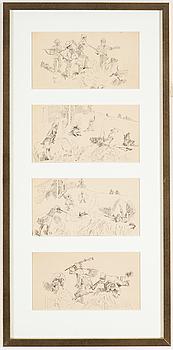 """BRUNO LILJEFORS, en serie bestående av fyra originalteckningar ur en svit av sex till boken """"Karikatyrer"""" från 1884."""