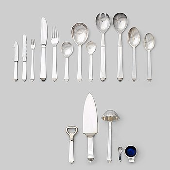 "130. Harald Nielsen, a set of 61 pieces of ""Pyramid"" flatware, executed by Georg Jensen, Copenhagen ca 1927-1977, 830/1000, sterling."