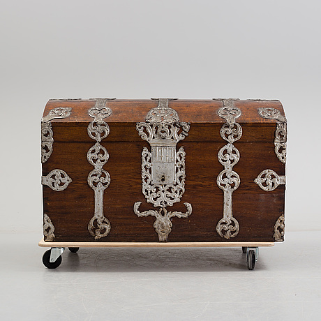 A baroque chest, dated 1777