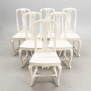 A set of six 17th century Finnish Rococo chairs.