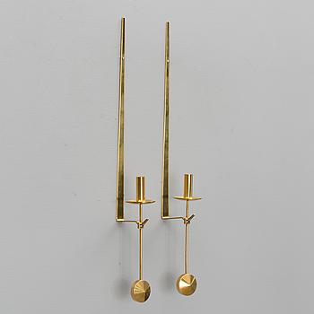 A pair of Skultuna brass sconces, Sweden.