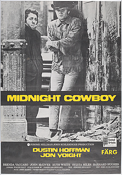 """A movie poster for """"Midnight Cowboy"""", 1960/70s."""