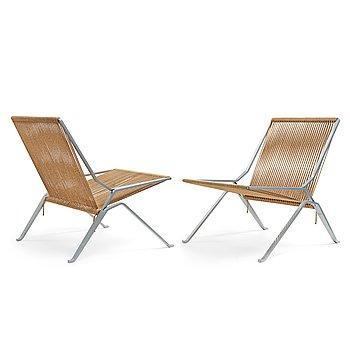 "271. POUL KJAERHOLM, fåtöljer, ett par ""PK 25"" The Element chair, E Kold Christensen, Danmark."