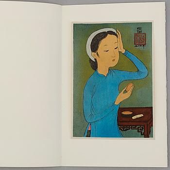 MAI TRUNG THỨ, portfolio med 8 litografier på silke, stämplade och signerade, utgiven 1961, numrerad 463/523.