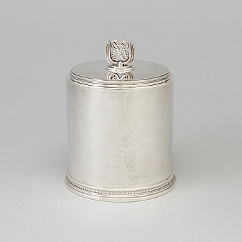ATELIER BORGILA, a sterling silver tobacco jar from Stockholm, 1947.