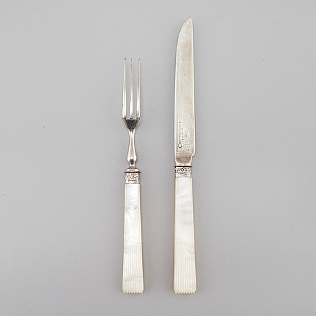 12 pieces of silver fruit cutlery from mappin brothers in london, 1899
