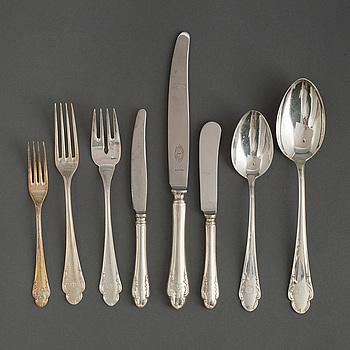 """BESTICK, 60 delar silver, """"Haga"""", 1950-tal. Vikt med stålblad ca 2500 g."""