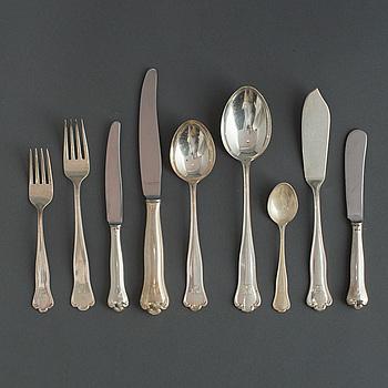 BESTICK, 105 delar, silver, 1950-tal. Vikt med stålblad ca 4200 g.