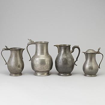 KANNOR, 4 st, tenn, 1700-tal.