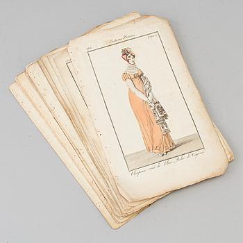 MODEILLUSTRATIONER, 22 st, handkolorerade, 1800-talets början.