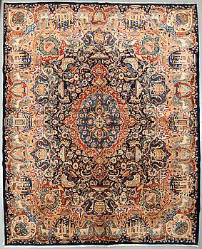 A Kashmar rug, 386 x 304 cm.