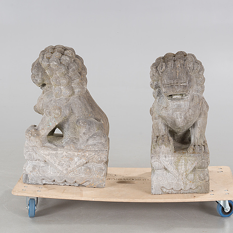 A pair of cement sculptures, 20th century