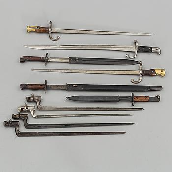 SAMLING SABELBAJONETTER/BAJONETTER, 10 ST,  1800-1900-TAL.