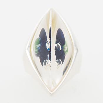"A BJÖRN WECKSTRÖM RING, ""Waterworld"", silver, acrylic. Lapponia 2002."