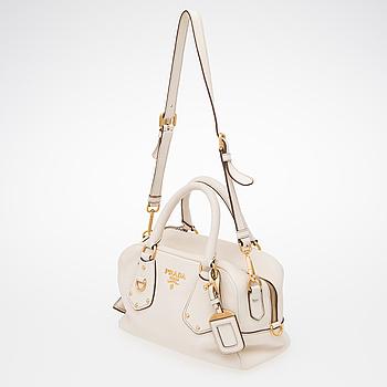 PRADA, Off-White Leather Bag.