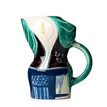 """113. Pablo Picasso, a """"Pichet aux arums"""" faience pitcher, Madoura, Vallauris, France 1953 (A Ramié, no 189)."""