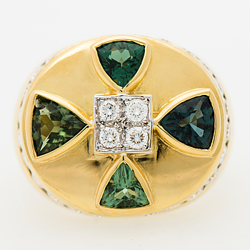 RING, fasettslipade turmaliner, briljantslipade diamanter, 18K guld.