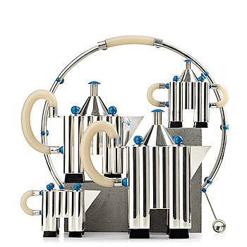 41. Michael Graves, a five pieces sterling tea- and coffee service, limited edition by Alessi, Italy 1985.
