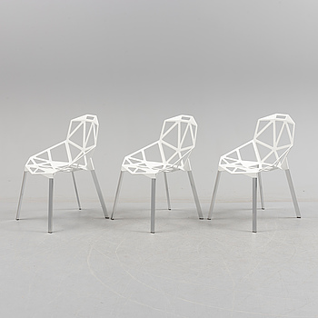 """Three 21st century """"Chair One"""" chairs by Magis."""
