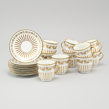 Ten porcelain cocoa cups with saucers, Rörstrand, beginning 20th century.