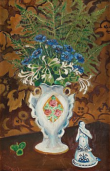 340. Gideon Börje, Still life with fern, blue bell and honeysuckle.