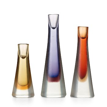 "29. Paolo Venini, a set of three ""Incisi"" glass candleholders, Venini, Murano, Italy 1950's, model 4809."