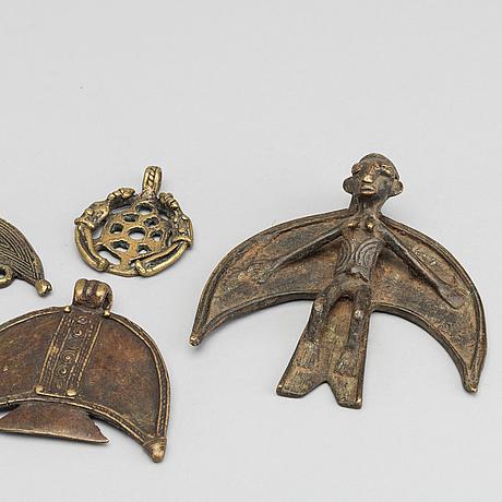 HÄngen / amuletter, 5 st, bla. från nunafolket, burkina faso.
