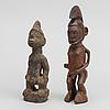 Skulpturer, 2 st, ibeji, yoruba, nigeria och teke, dr kongo.