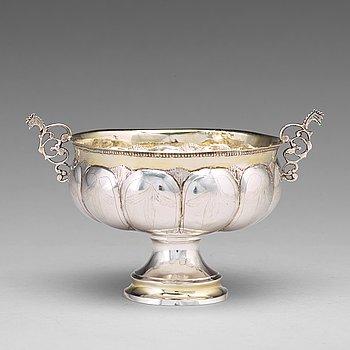 128. Olof Grubb, brännvinsskål, silver Hudiksvall 1800.