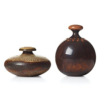 76. Stig Lindberg, a stoneware art object/vase and a vase, Gustavsberg studio, Sweden 1960 and 1964.