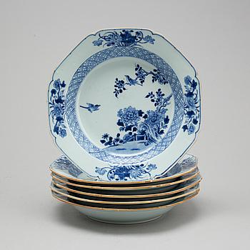 FAT, sex stycken, kompaniporslin. Qingdynastin, Qianlong (1736-95).
