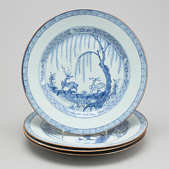 Four blue and white porcelain plates, Qing dynasty, Yongzheng (1723-35).