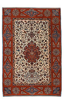 211. A CARPET, a semi-antique Esfahan, ca 227 x 152,5 cm (as well as the ends with ca 1½ and ½ cm flat weave).