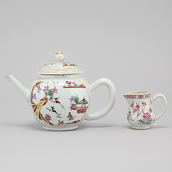 A chinese famille rose teapot with cover and a small jug, Qing dynasty, Qianlong (1736-95).