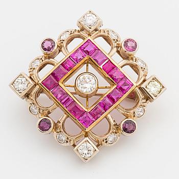BROSCH, 14K guld med diamanter.