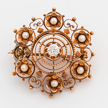 BROSCH, 14K guld med diamant och pärlor,
