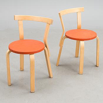 ALVAR AALTO, stolar, ett par, modell 68, Artek, 1970/80-tal.