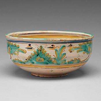 253. An Italian or Spanish faiance bowl, 18th Century.