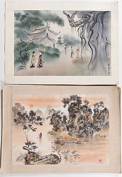 Pair of Vietnamese silk paintings, the latter half of 20th Century.
