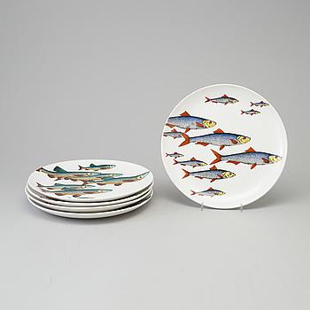 """FORNASETTI, fisktallrikar, 5 st, porslin, """"Pesci"""", Milano, Italien, 1955."""
