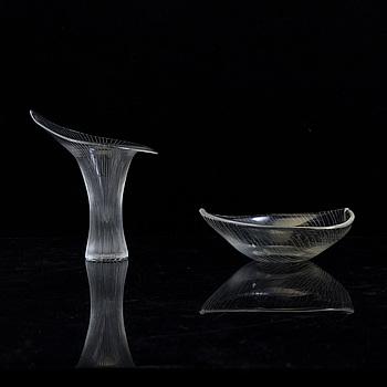 TAPIO WIRKKALA, TAPIO WIRKKALA, a 'Kantarell' glass vase and a bowl, signed, Iittala, Finland, second half of the 20th Century.