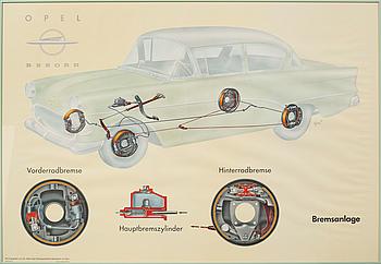 AFFISCHER, 2 st, offsettryck, Opel Rekord, 1900-talets andra hälft.